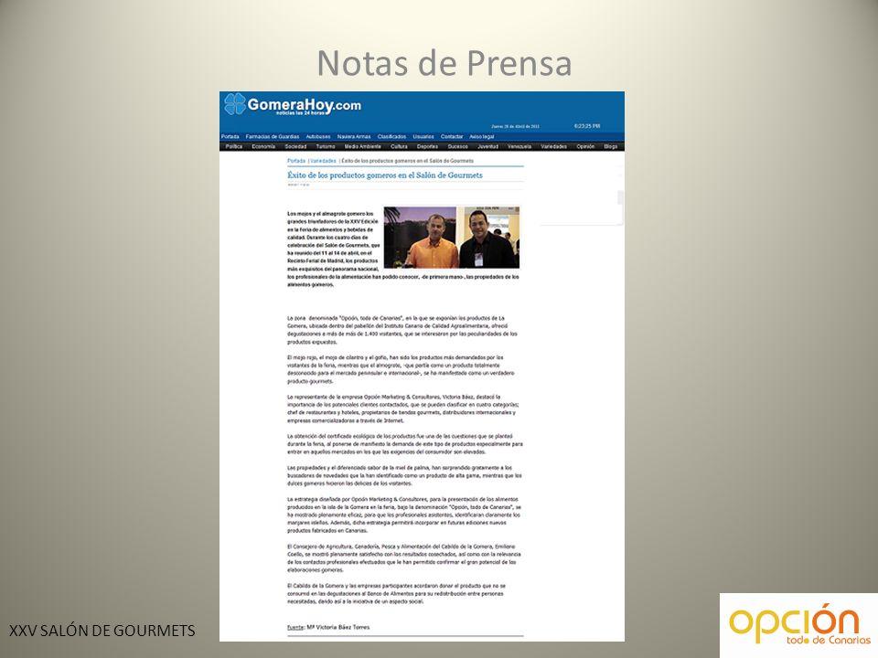 XXV SALÓN DE GOURMETS Notas de Prensa