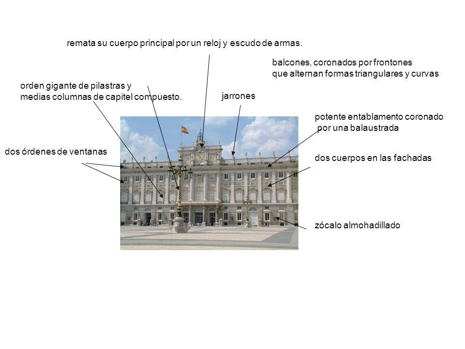 zócalo almohadillado dos cuerpos en las fachadas orden gigante de pilastras y medias columnas de capitel compuesto. balcones, coronados por frontones