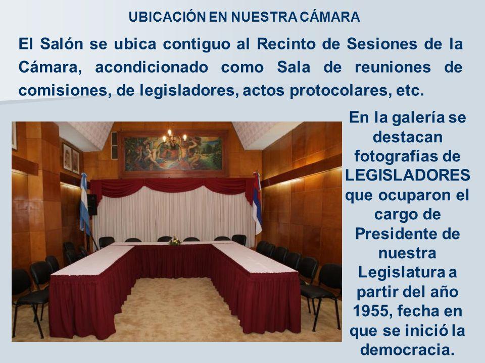 El Salón se ubica contiguo al Recinto de Sesiones de la Cámara, acondicionado como Sala de reuniones de comisiones, de legisladores, actos protocolares, etc.