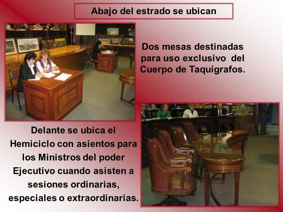 40 BUTACAS ocupadas por los 39 Legisladores Restantes, ubicados de acuerdo a la conformación de sus respectivos bloques políticos.