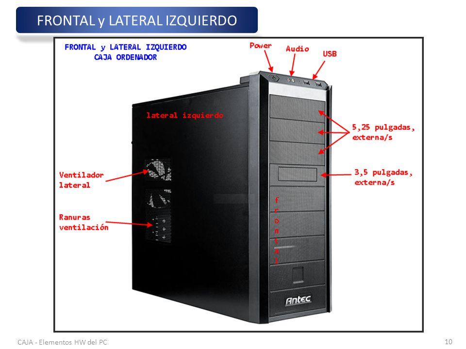 CAJA - Elementos HW del PC 10 FRONTAL y LATERAL IZQUIERDO