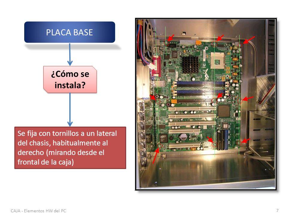 CAJA - Elementos HW del PC 7 PLACA BASE ¿Cómo se instala? Se fija con tornillos a un lateral del chasis, habitualmente al derecho (mirando desde el fr