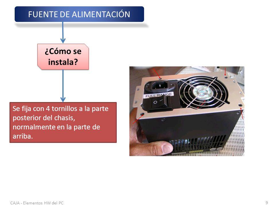 CAJA - Elementos HW del PC 9 FUENTE DE ALIMENTACIÓN ¿Cómo se instala? Se fija con 4 tornillos a la parte posterior del chasis, normalmente en la parte
