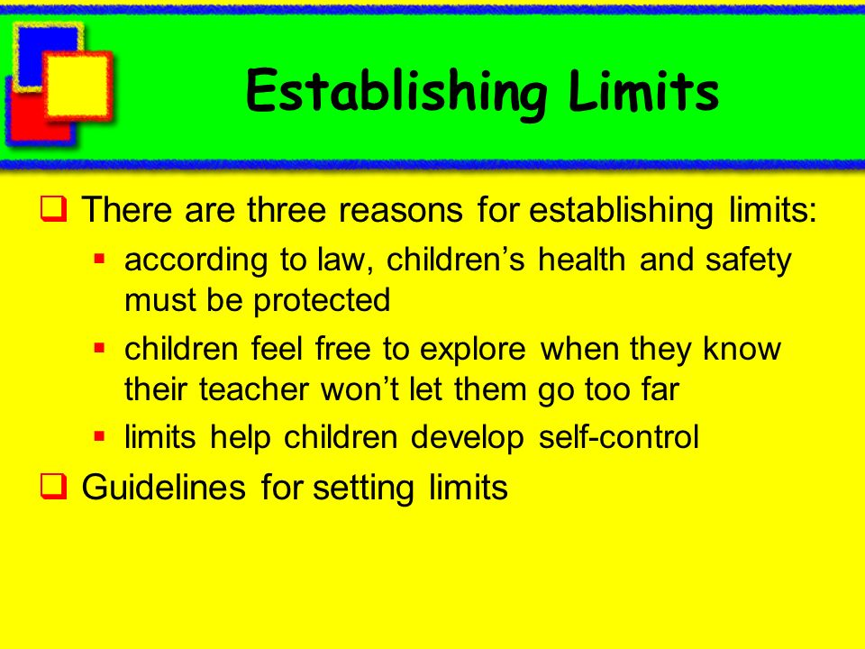 Establishing Limits There are three reasons for establishing limits: according to law, childrens health and safety must be protected children feel fre