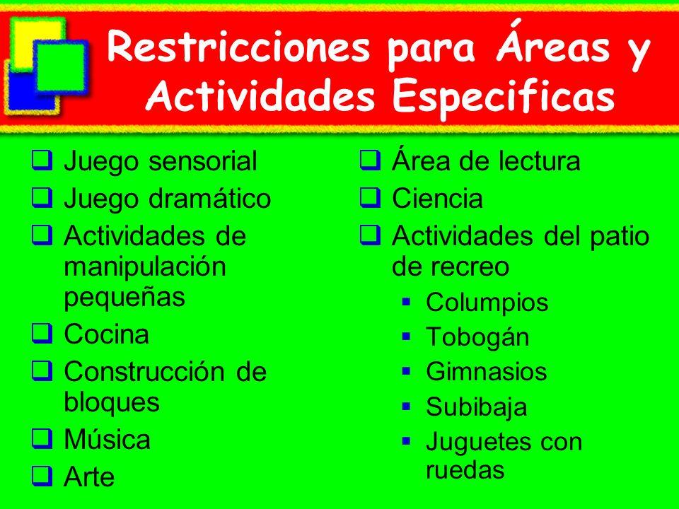 Restricciones para Áreas y Actividades Especificas Juego sensorial Juego dramático Actividades de manipulación pequeñas Cocina Construcción de bloques