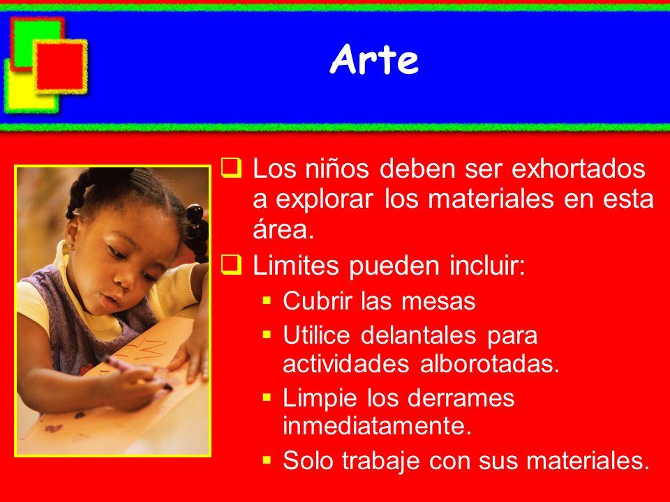 Arte Los niños deben ser exhortados a explorar los materiales en esta área. Limites pueden incluir: Cubrir las mesas Utilice delantales para actividad