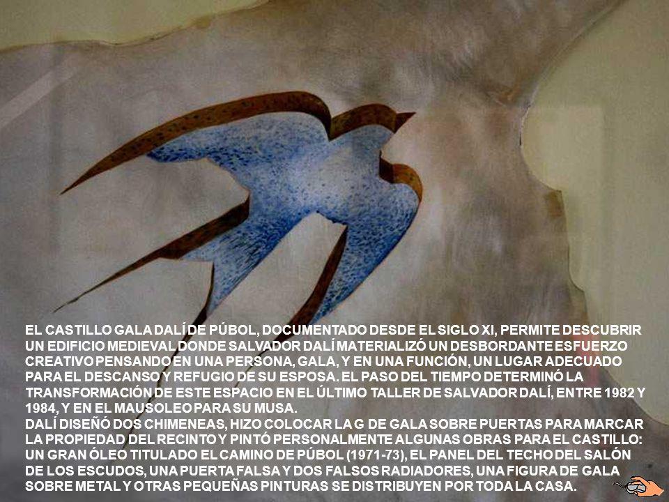 PUBOL ES UN PEQUEÑO PUEBLO LOCALIZADO EN LA COMARCA DEL BAIX EMPORDA. EN 1962 EL ARTISTA COMPRO EL CASTILLO DE PUBOL COMO REGALO PARA SU AMANTE,ESPOSA