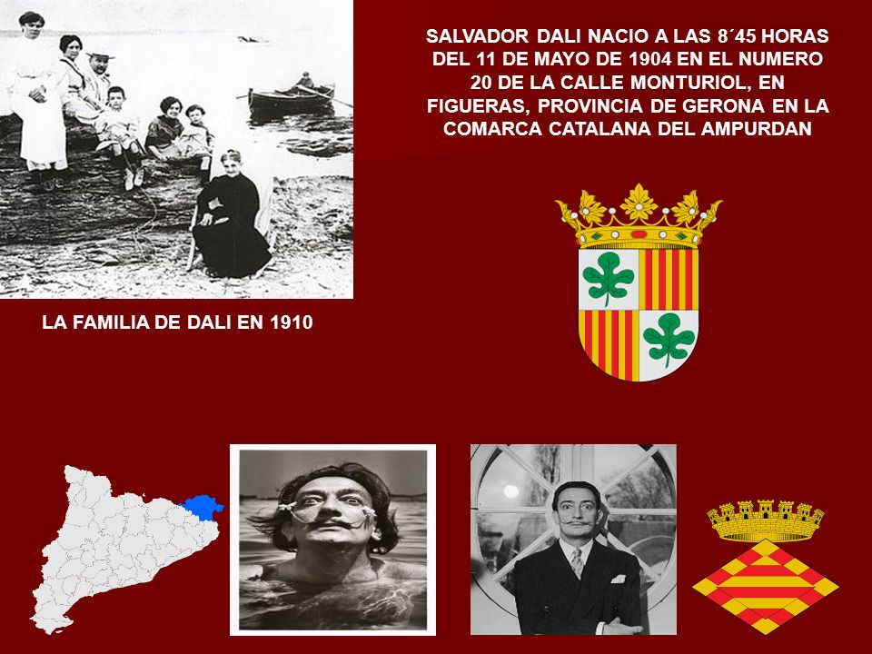 SALVADOR DOMENECH, MAS CONOCIDO POR SALVADOR DALI NACIO EN FIGUERAS EL 11 DE MAYO DE 1904 FUE UN PINTOR, UNO DE LOS MAXIMOS REPRESENTANTES DEL SURREAL