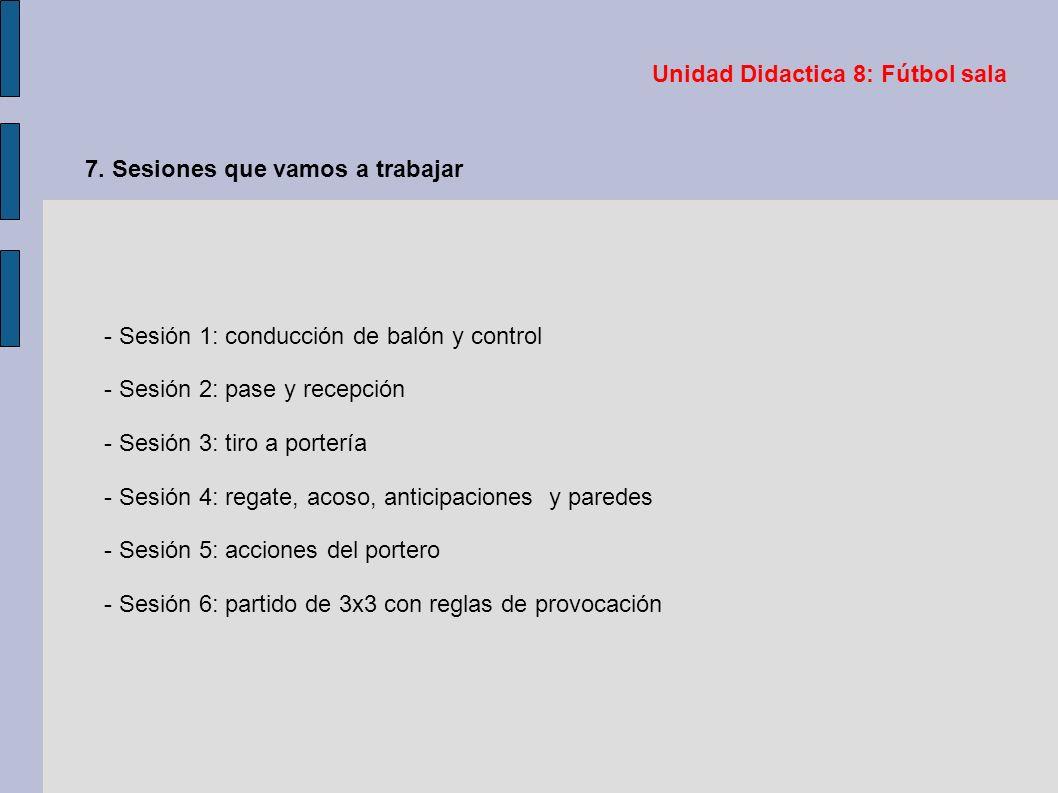 Unidad Didactica 8: Fútbol sala 7. Sesiones que vamos a trabajar - Sesión 1: conducción de balón y control - Sesión 2: pase y recepción - Sesión 3: ti