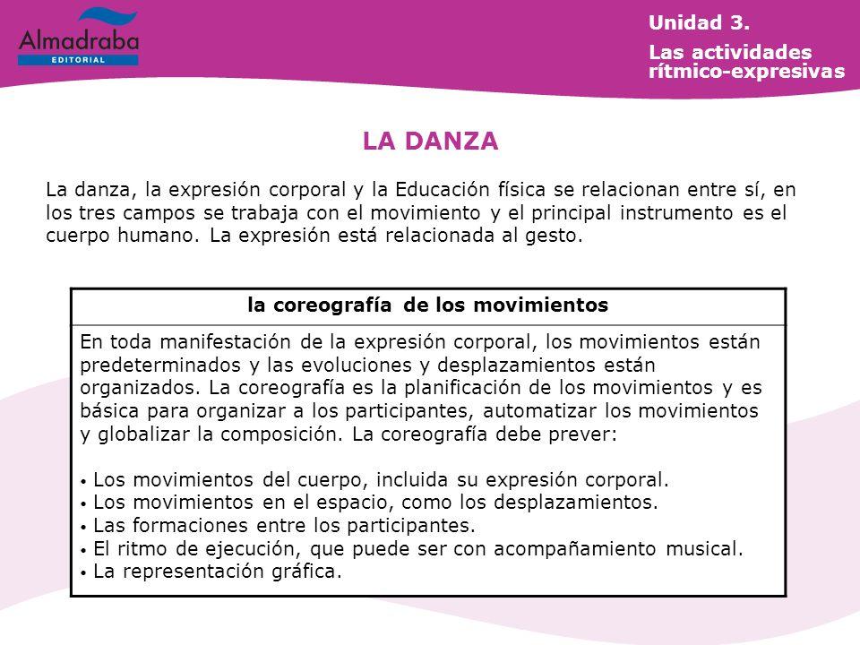 La danza, la expresión corporal y la Educación física se relacionan entre sí, en los tres campos se trabaja con el movimiento y el principal instrumento es el cuerpo humano.