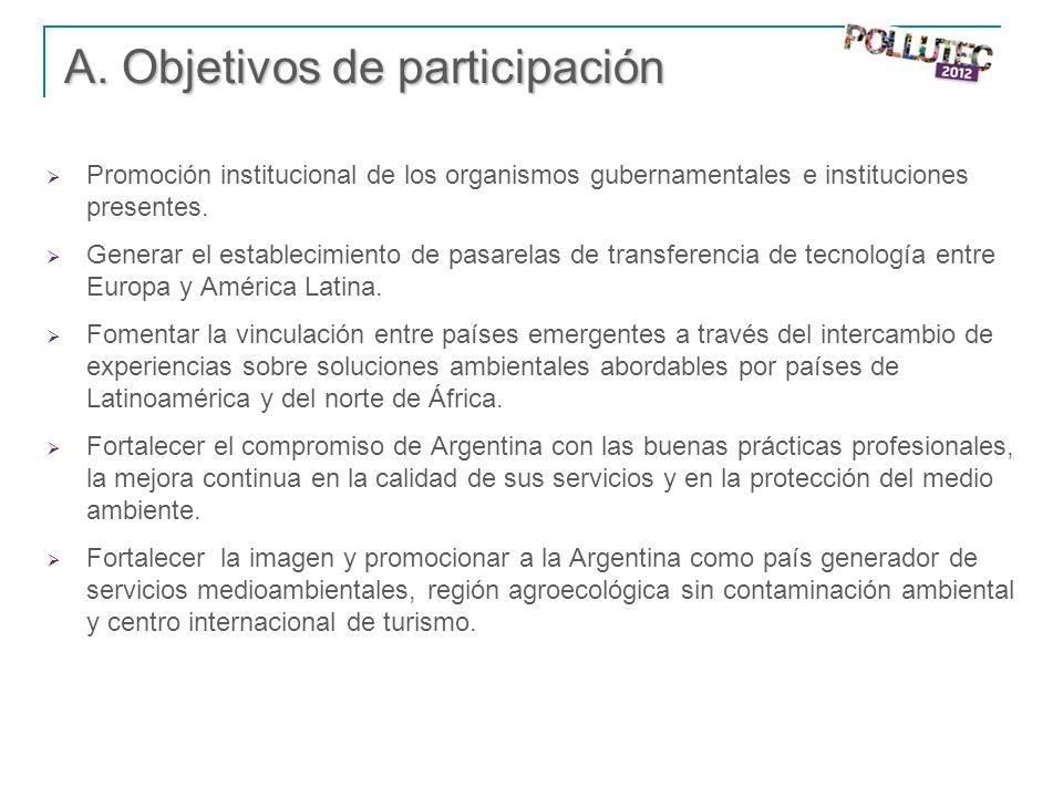 A. Objetivos de participación Promoción institucional de los organismos gubernamentales e instituciones presentes. Generar el establecimiento de pasar