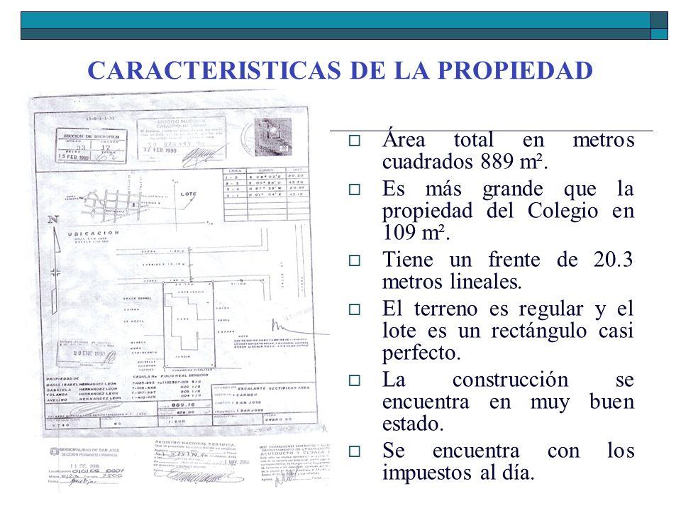 CARACTERISTICAS DE LA PROPIEDAD Área total en metros cuadrados 889 m². Es más grande que la propiedad del Colegio en 109 m². Tiene un frente de 20.3 m