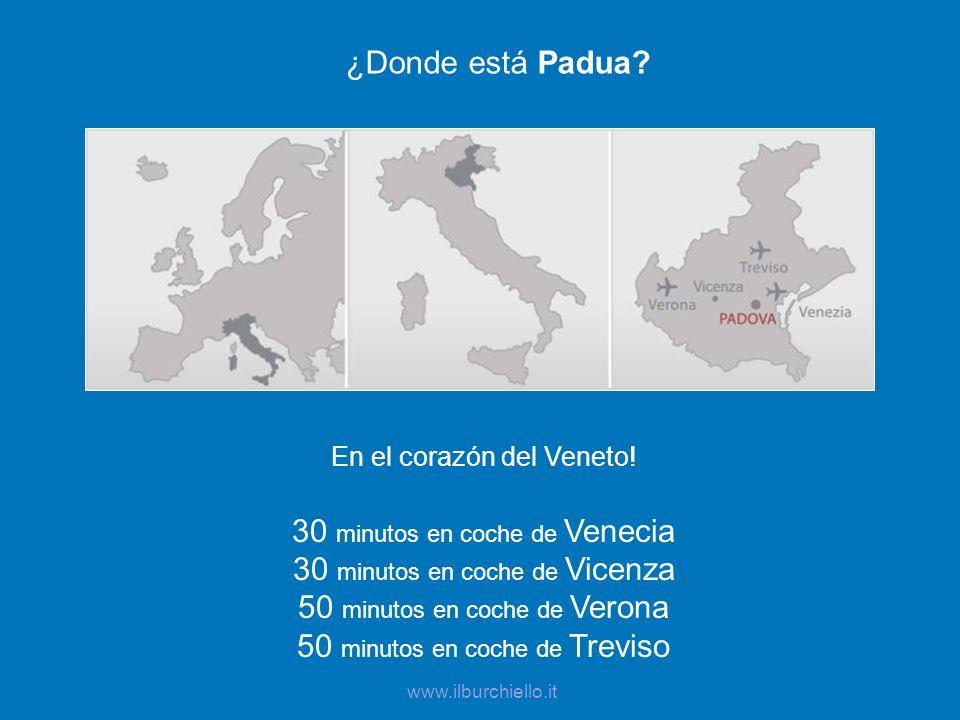 ¿Donde está Padua? En el corazón del Veneto! 30 minutos en coche de Venecia 30 minutos en coche de Vicenza 50 minutos en coche de Verona 50 minutos en