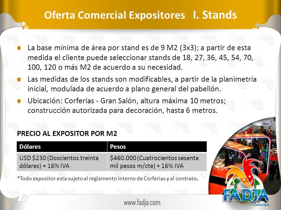 Oferta Comercial Expositores I. Stands La base mínima de área por stand es de 9 M2 (3x3); a partir de esta medida el cliente puede seleccionar stands