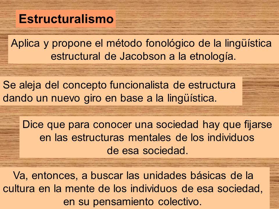 Estructuralismo Aplica y propone el método fonológico de la lingüística estructural de Jacobson a la etnología. Se aleja del concepto funcionalista de