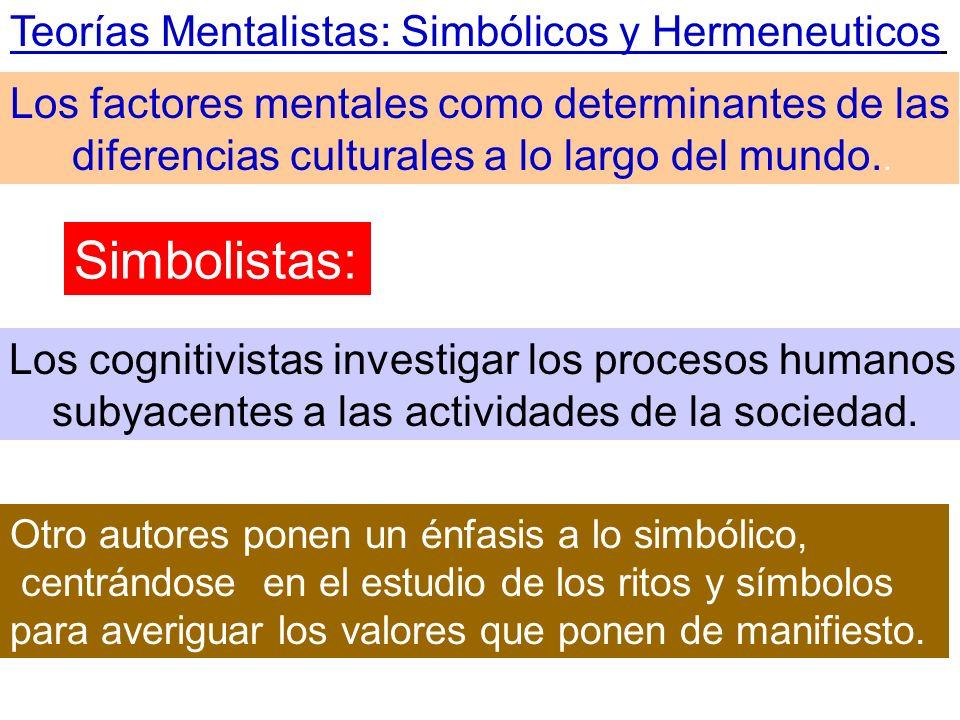 Teorías Mentalistas: Simbólicos y Hermeneuticos Los factores mentales como determinantes de las diferencias culturales a lo largo del mundo.. Los cogn