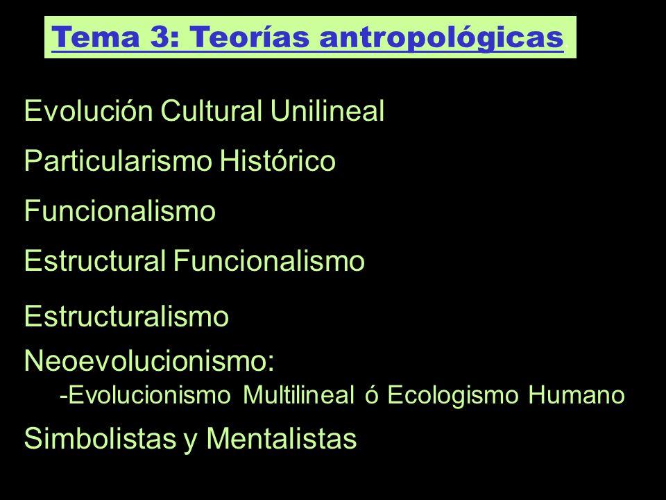 Tema 3: Teorías antropológicas. Evolución Cultural Unilineal Particularismo Histórico Funcionalismo Estructural Funcionalismo Estructuralismo Neoevolu