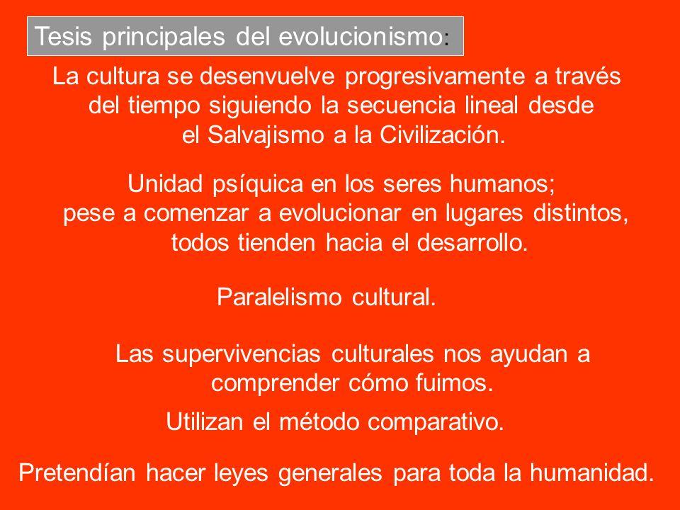 Tesis principales del evolucionismo : La cultura se desenvuelve progresivamente a través del tiempo siguiendo la secuencia lineal desde el Salvajismo
