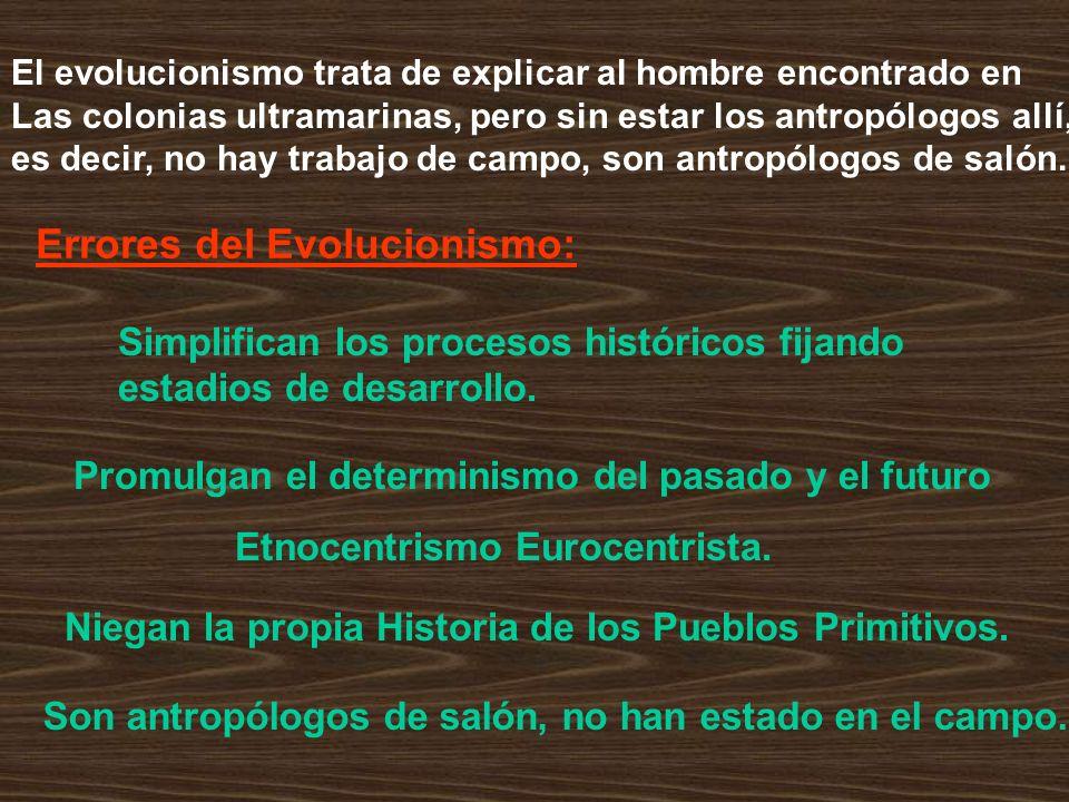 El evolucionismo trata de explicar al hombre encontrado en Las colonias ultramarinas, pero sin estar los antropólogos allí, es decir, no hay trabajo d