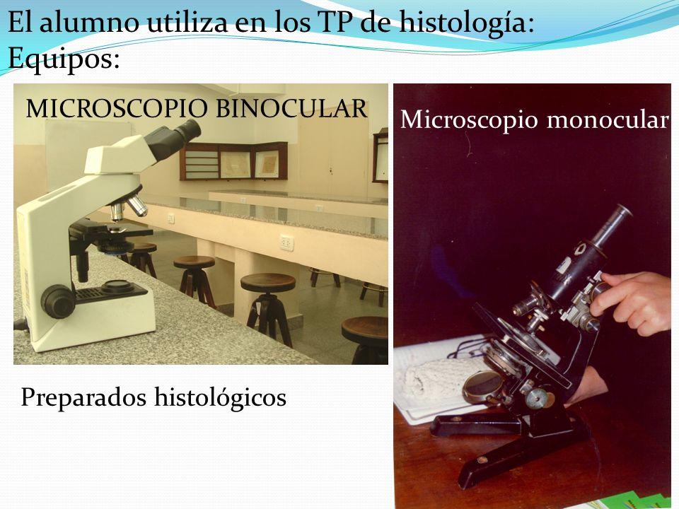 MICROSCOPIO BINOCULAR Microscopio monocular El alumno utiliza en los TP de histología: Equipos: Preparados histológicos