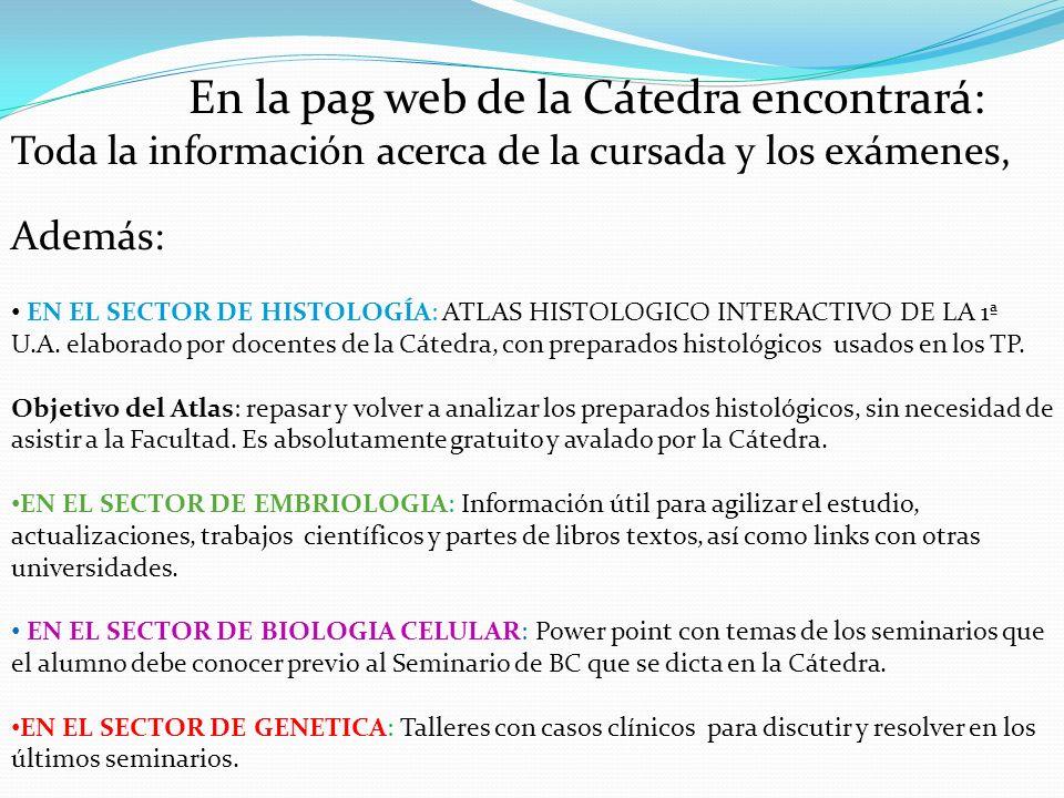 En la pag web de la Cátedra encontrará: Toda la información acerca de la cursada y los exámenes, Además: EN EL SECTOR DE HISTOLOGÍA: ATLAS HISTOLOGICO