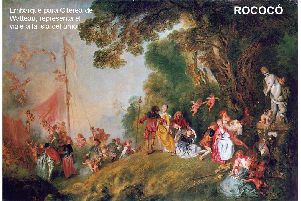 Embarque para Citerea de Watteau, representa el viaje a la isla del amor. ROCOCÓ