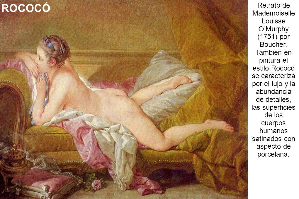 Retrato de Mademoiselle Louisse OMurphy (1751) por Boucher. También en pintura el estilo Rococó se caracteriza por el lujo y la abundancia de detalles