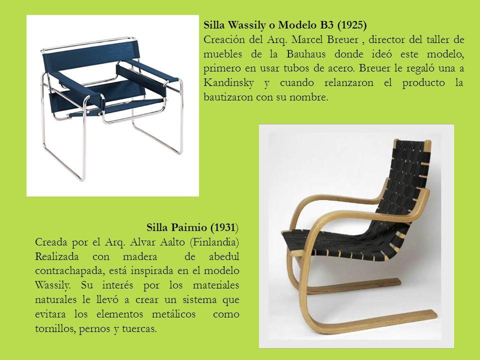 Silla Wassily o Modelo B3 (1925) Creación del Arq.