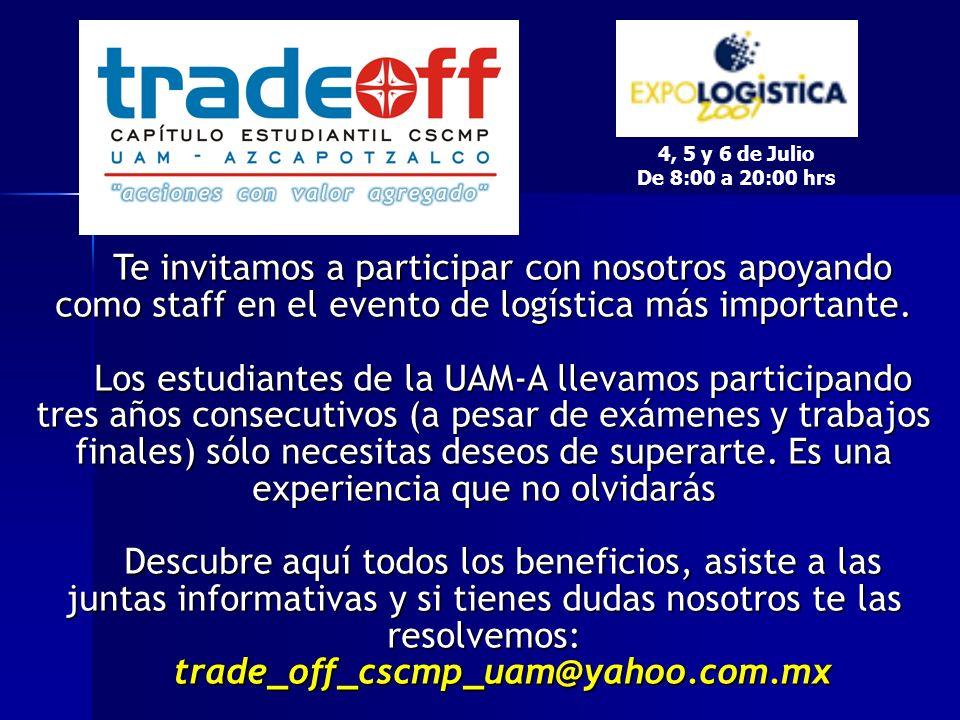 Te invitamos a participar con nosotros apoyando como staff en el evento de logística más importante.