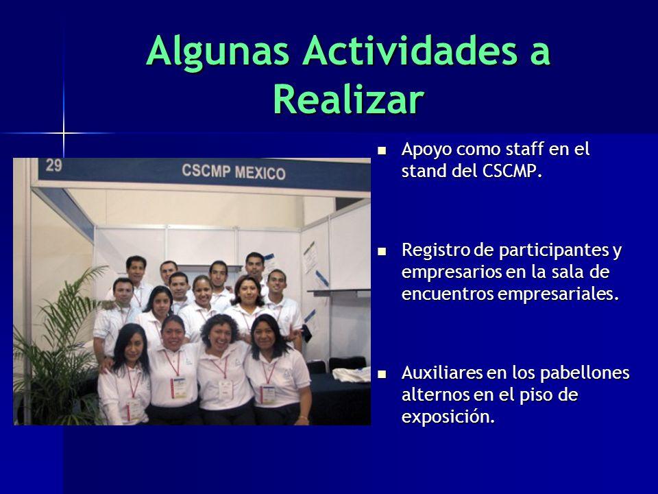 Algunas Actividades a Realizar Apoyo como staff en el stand del CSCMP.