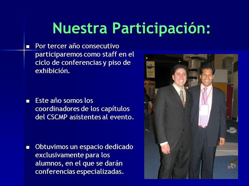 Nuestra Participación: Por tercer año consecutivo participaremos como staff en el ciclo de conferencias y piso de exhibición.