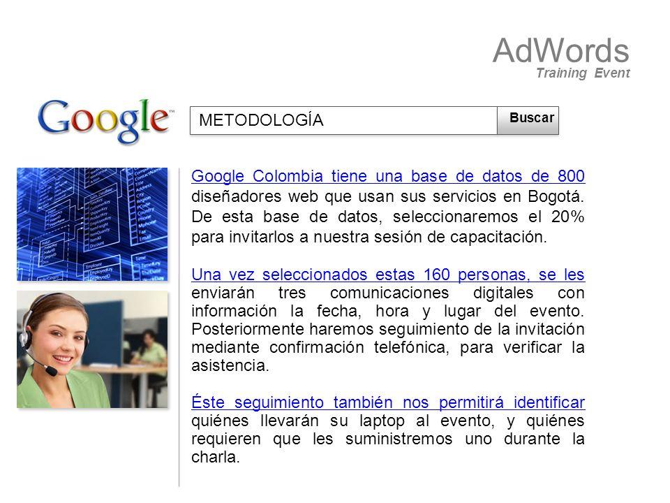 Google Colombia tiene una base de datos de 800 diseñadores web que usan sus servicios en Bogotá. De esta base de datos, seleccionaremos el 20% para in