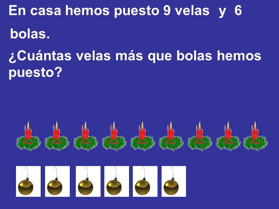 En casa hemos puesto 9 velas y 6 bolas. ¿Cuántas velas más que bolas hemos puesto?