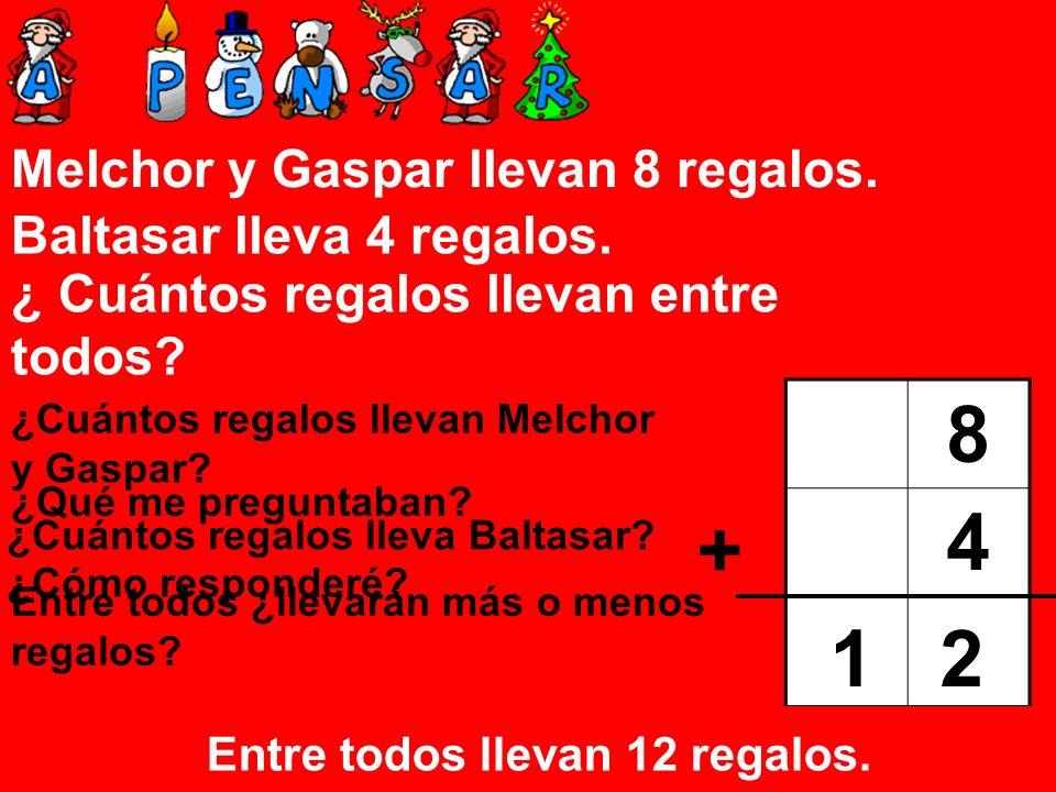 Melchor y Gaspar llevan 8 regalos. Baltasar lleva 4 regalos. ¿ Cuántos regalos llevan entre todos? ¿Cuántos regalos llevan Melchor y Gaspar? 8 ¿Cuánto