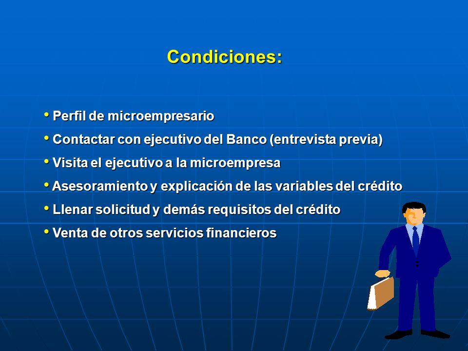 Condiciones: Perfil de microempresario Perfil de microempresario Contactar con ejecutivo del Banco (entrevista previa) Contactar con ejecutivo del Ban