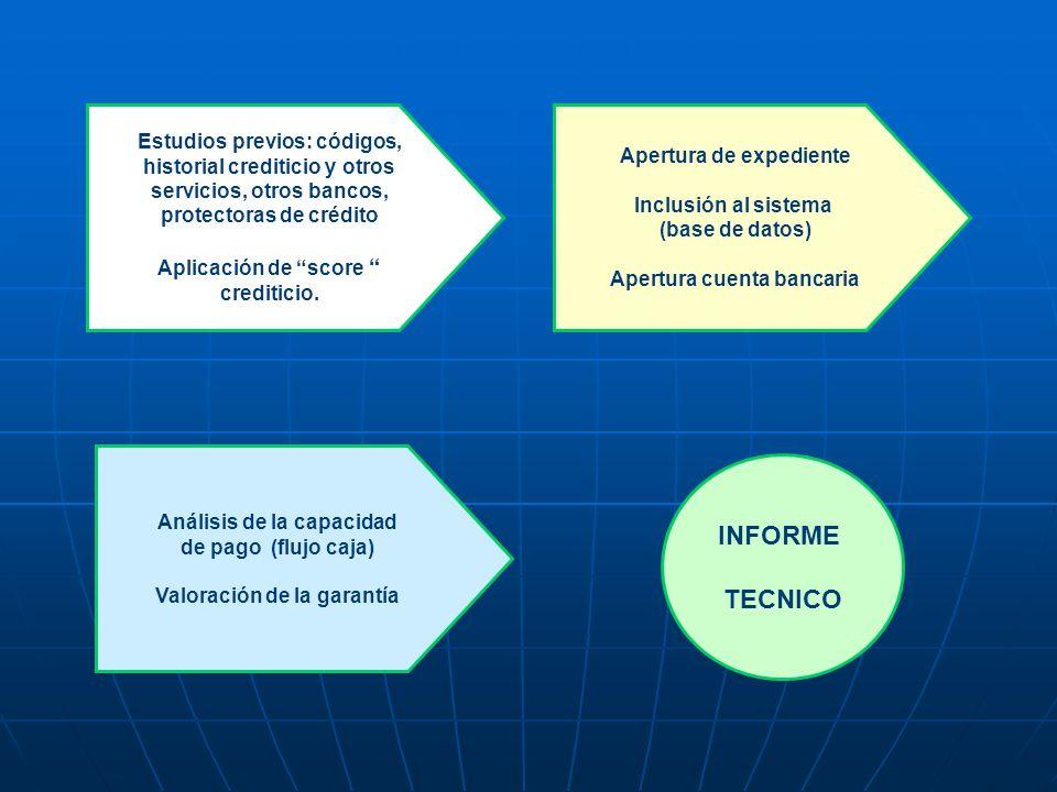 Estudios previos: códigos, historial crediticio y otros servicios, otros bancos, protectoras de crédito Aplicación de score crediticio. Apertura de ex
