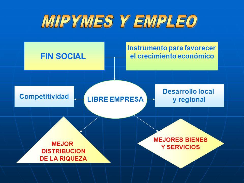 FIN SOCIAL Instrumento para favorecer el crecimiento económico LIBRE EMPRESA MEJOR DISTRIBUCION DE LA RIQUEZA MEJORES BIENES Y SERVICIOS Desarrollo lo