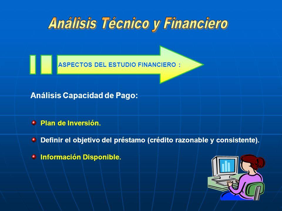 Análisis Capacidad de Pago: Plan de Inversión. Definir el objetivo del préstamo (crédito razonable y consistente). Información Disponible. ASPECTOS DE