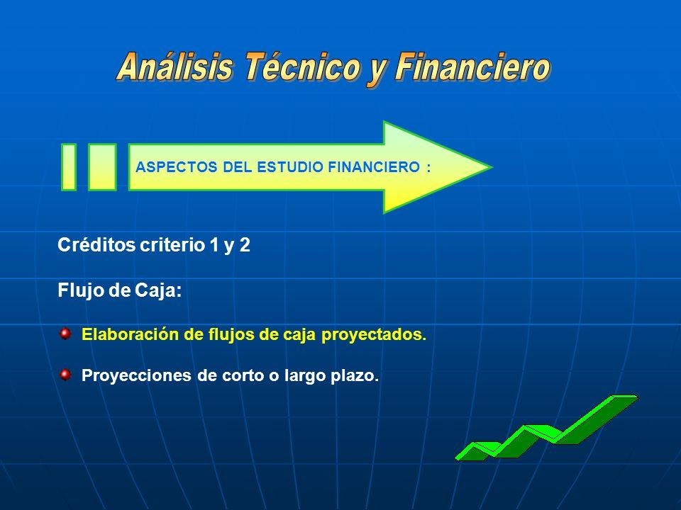 Créditos criterio 1 y 2 Flujo de Caja: Elaboración de flujos de caja proyectados. Proyecciones de corto o largo plazo. ASPECTOS DEL ESTUDIO FINANCIERO