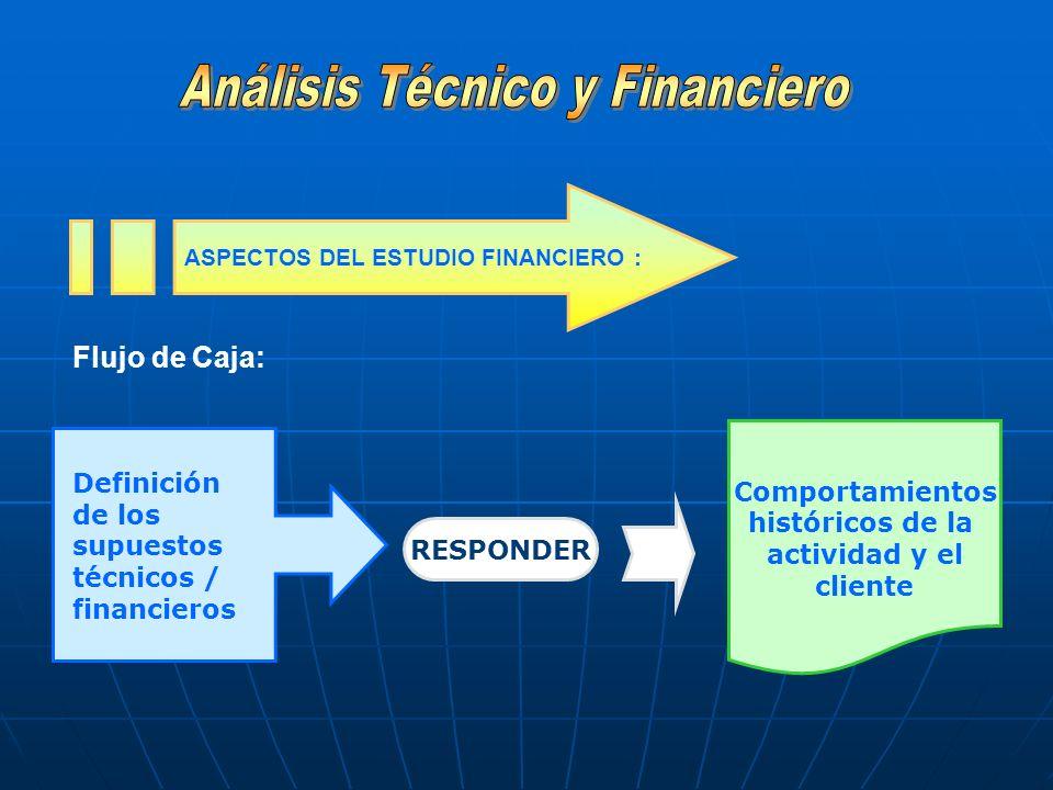 Flujo de Caja: ASPECTOS DEL ESTUDIO FINANCIERO : Definición de los supuestos técnicos / financieros RESPONDER Comportamientos históricos de la activid
