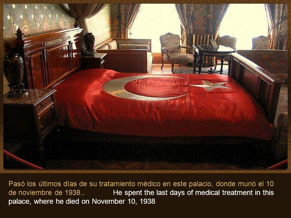 Pasó los últimos días de su tratamiento médico en este palacio, donde murió el 10 de noviembre de 1938..