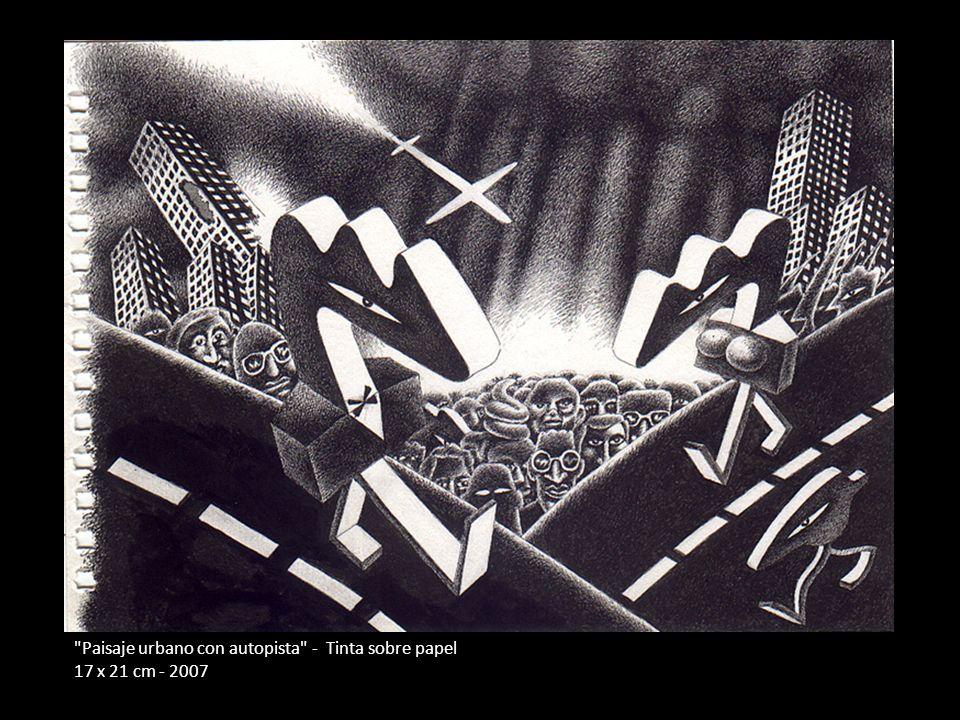 Paisaje urbano con autopista - Tinta sobre papel 17 x 21 cm - 2007