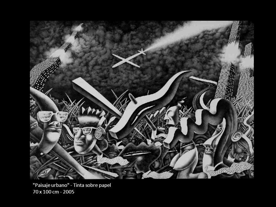Paisaje urbano - Tinta sobre papel 70 x 100 cm - 2005