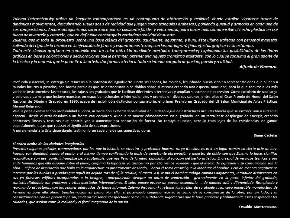 Zulema Petruschansky utiliza un lenguaje contemporáneo en un contrapunto de abstracción y realidad, donde estallan vigorosos trazos de dinámicos movimientos, descubriendo sutiles dosis de realidad que juegan como tranquilos arabescos, poniendo quietud y armonía en cada una de sus composiciones.