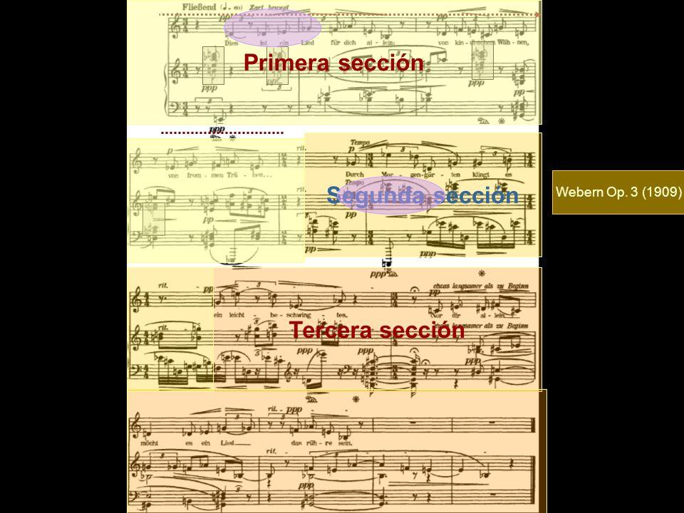 Primera sección Segunda sección Tercera sección Webern Op. 3 (1909)