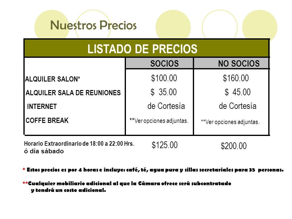Nuestros Precios * Estos precios es por 4 horas e incluye: café, té, agua pura y sillas secretariales para 35 personas.