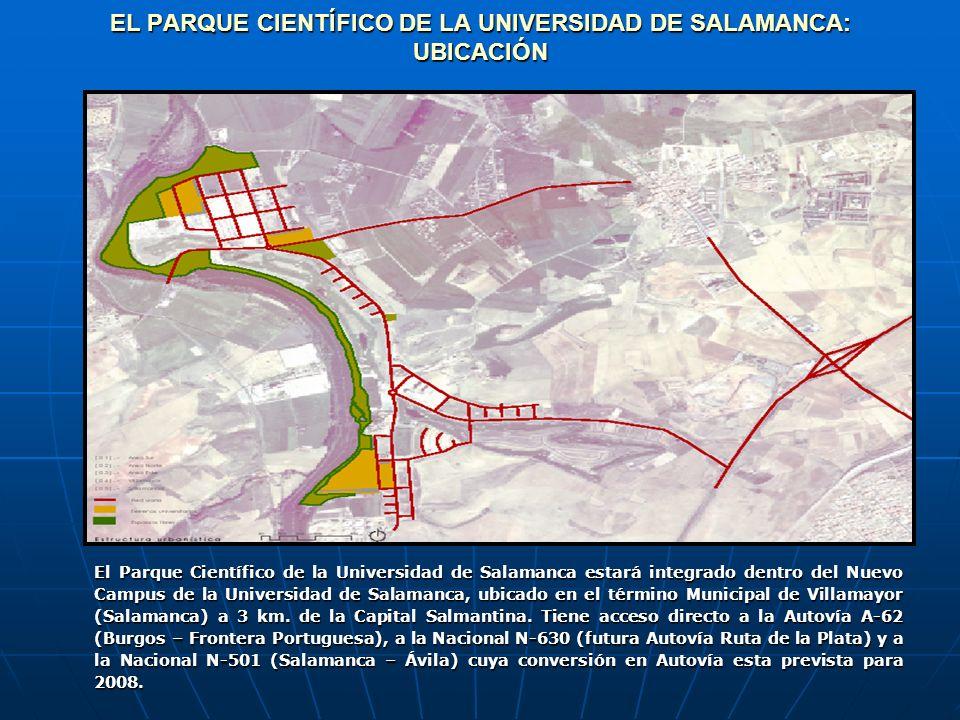 EL PARQUE CIENTÍFICO DE LA UNIVERSIDAD DE SALAMANCA: UBICACIÓN El Parque Científico de la Universidad de Salamanca estará integrado dentro del Nuevo Campus de la Universidad de Salamanca, ubicado en el término Municipal de Villamayor (Salamanca) a 3 km.