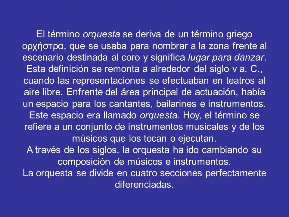 El término orquesta se deriva de un término griego ορχήστρα, que se usaba para nombrar a la zona frente al escenario destinada al coro y significa lugar para danzar.