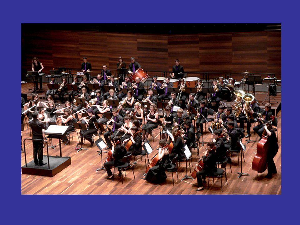 Banda sinfónica Es un conjunto de músicos que interpretan instrumentos de viento, de percusión y, ocasionalmente, algunos de cuerda. La principal dife