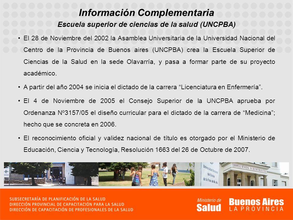 Información Complementaria El 28 de Noviembre del 2002 la Asamblea Universitaria de la Universidad Nacional del Centro de la Provincia de Buenos aires